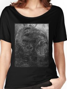 Psychedelic Gorilla illusion poster (Black) Women's Relaxed Fit T-Shirt