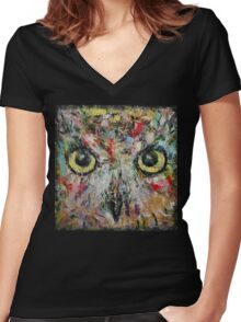 Mystic Owl Women's Fitted V-Neck T-Shirt