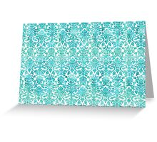 Blue White Damask Watercolor Pattern Greeting Card