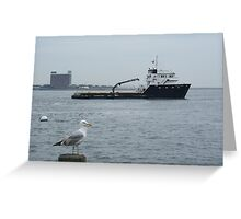 Onlooker to a travelling Fishing Vessel @ Boston Harbor Greeting Card