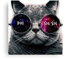Phi Sigma Sigma Galaxy Cat Canvas Print