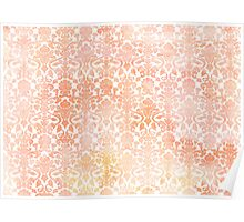 Peach White Damask Watercolor Pattern Poster