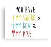 Lord of The Rings - My Sword, My Bow, My Axe Metal Print