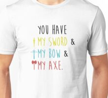 Lord of The Rings - My Sword, My Bow, My Axe Unisex T-Shirt