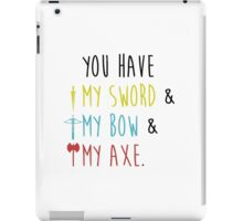 Lord of The Rings - My Sword, My Bow, My Axe iPad Case/Skin