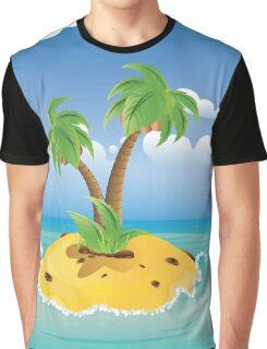 Cartoon Palm Island Graphic T-Shirt