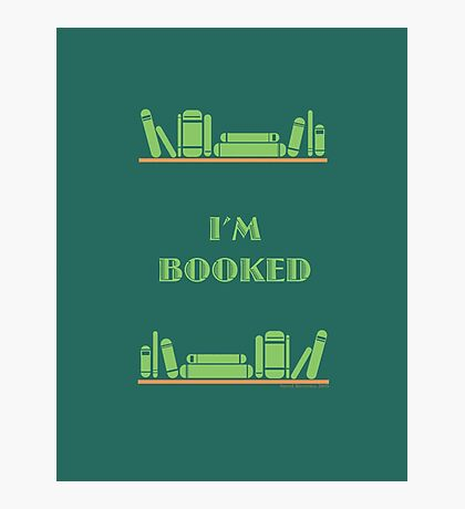 I'm Booked - Green Shelves Photographic Print
