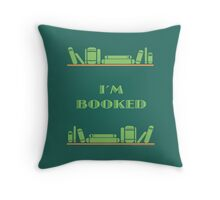I'm Booked - Green Shelves Throw Pillow