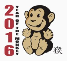 Born 2016 Year Of The Monkey Kids Tee