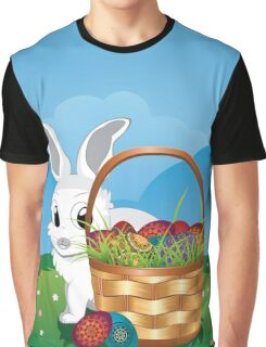 Easter Bunny with Eggs in the Basket 2 Graphic T-Shirt