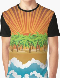 Sunset on tropical beach 3 Graphic T-Shirt