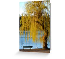 Lost Lagoon - Park Bench and Willow Tree Greeting Card