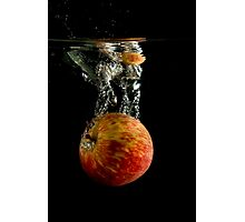 Red Apple Falling into Water Photographic Print