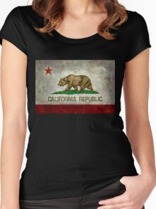 California Republic state flag - Vintage retro version Women's Fitted Scoop T-Shirt