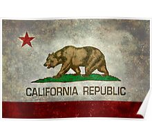 California Republic state flag - Vintage retro version Poster