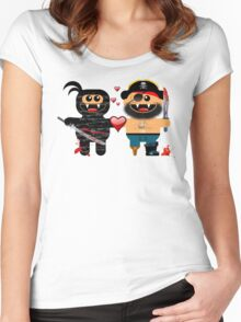 NINJA LOVES PIRATE Women's Fitted Scoop T-Shirt