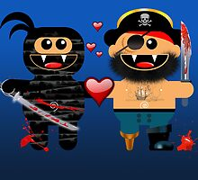 NINJA LOVES PIRATE by peter chebatte
