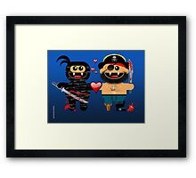 NINJA LOVES PIRATE Framed Print
