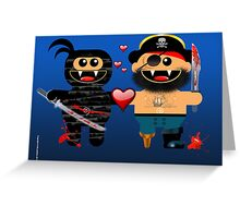 NINJA LOVES PIRATE Greeting Card