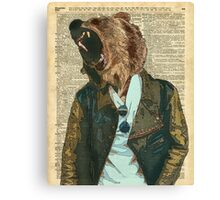 Dictionary Art HIPSTER Grizzly Bear Vintage Geeky Canvas Print