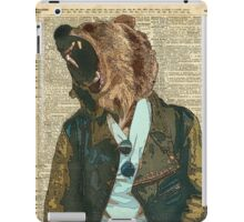 Dictionary Art HIPSTER Grizzly Bear Vintage Geeky iPad Case/Skin