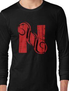Vintage Letter Red N Long Sleeve T-Shirt
