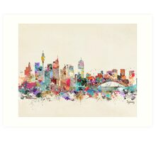 sydney skyline watercolor Art Print
