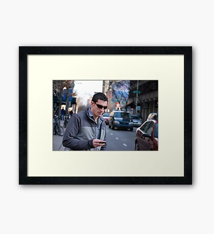 texting: Check out the parade Framed Print