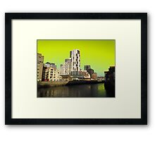 Ipswich Waterfront, Dayglow Green Sky Framed Print
