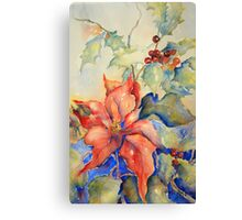 Poinsettia and Holly Canvas Print