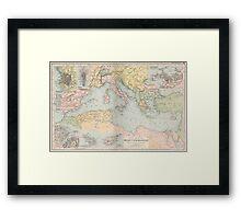 Vintage Map of The Mediterranean Sea (1891) Framed Print