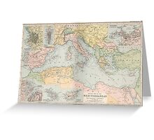 Vintage Map of The Mediterranean Sea (1891) Greeting Card