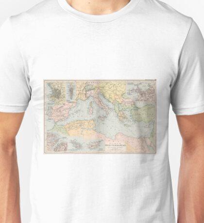 Vintage Map of The Mediterranean Sea (1891) Unisex T-Shirt