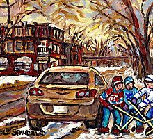 WINTER STREETS OF POINTE ST. CHARLES CANADIAN ART FOR SALE by Carole  Spandau