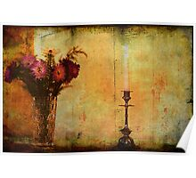 Flowers and a Candle. Poster