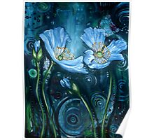Blue Poppies - Finding Beauty in Chaos Series Poster