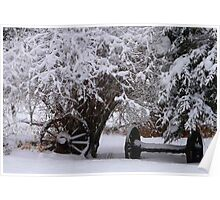 Wheels Covered in Snow Poster