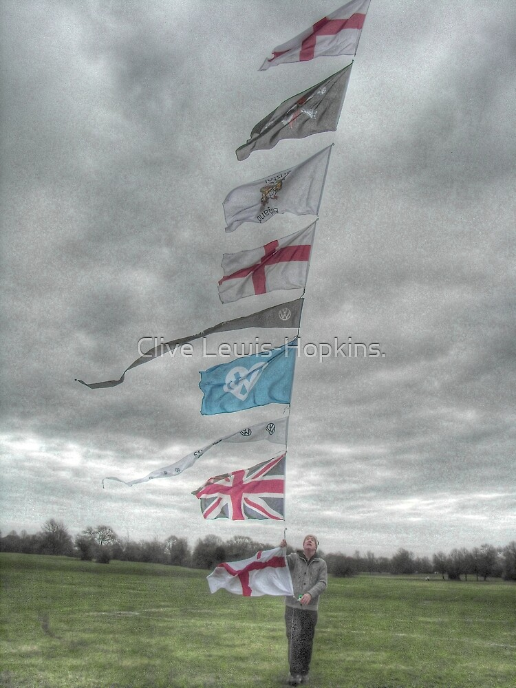Flying the flags on the Bristol Downs by kite. by Clive Lewis-Hopkins.