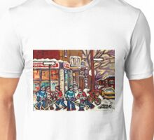VERDUN DEPANNEUR KIK COLA WINTER SCENE HOCKEY PAINTING Unisex T-Shirt