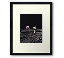 Buzz Aldrin on the Moon with Flag Framed Print