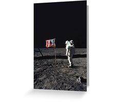 Buzz Aldrin on the Moon with Flag Greeting Card