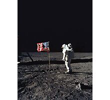 Buzz Aldrin on the Moon with Flag Photographic Print