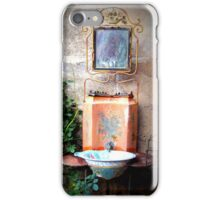 Traditional washbasin and mirror in metal stand iPhone Case/Skin