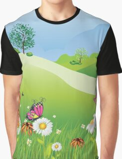 Cartoon Summer Landscape Graphic T-Shirt