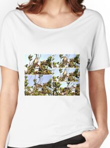 A COLLAGE OF A MOCKINGBIRD HIGH IN THE PYRACANTHA TREE Women's Relaxed Fit T-Shirt