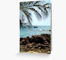 Sea, sky, boat, rocks  Greeting Card