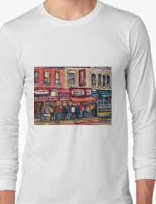 SCHWARTZ'S DELI MONTREAL SMOKED MEAT CANADIAN ART Long Sleeve T-Shirt