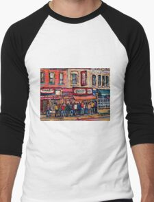 SCHWARTZ'S DELI MONTREAL SMOKED MEAT CANADIAN ART Men's Baseball ¾ T-Shirt