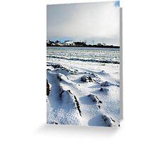 Cornish farm land under snow Greeting Card