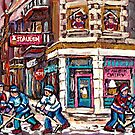 MONTREAL MEMORIES ST. AUBIN ICE CREAM SHOP ORIGINAL CANADIAN ART by Carole  Spandau